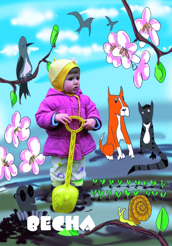 Весенний коллаж для ребенка